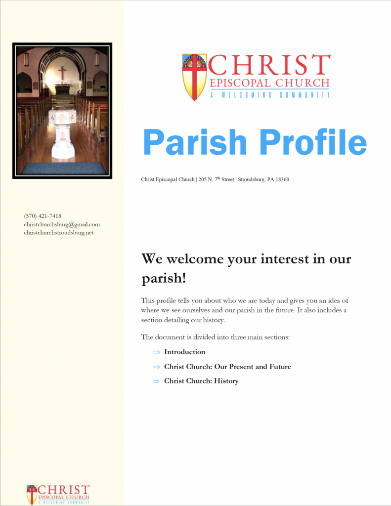 Screen cap of Page 1 of CEC Profile